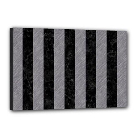 Stripes1 Black Marble & Gray Colored Pencil Canvas 18  X 12  by trendistuff