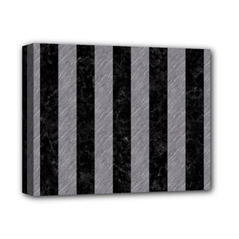 Stripes1 Black Marble & Gray Colored Pencil Deluxe Canvas 14  X 11  by trendistuff