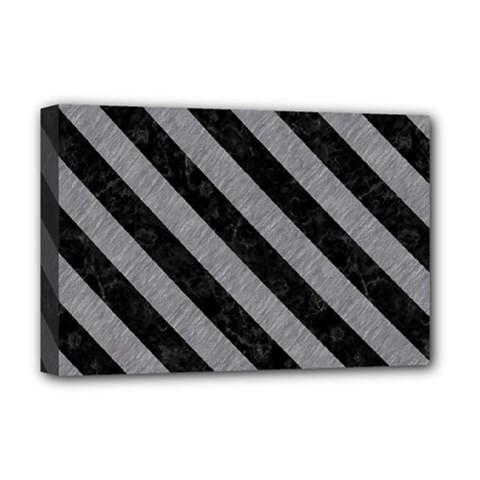 Stripes3 Black Marble & Gray Colored Pencil (r) Deluxe Canvas 18  X 12   by trendistuff
