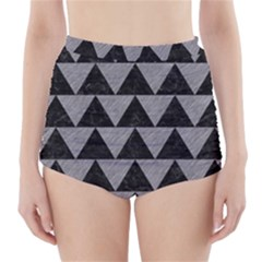 Triangle2 Black Marble & Gray Colored Pencil High Waisted Bikini Bottoms