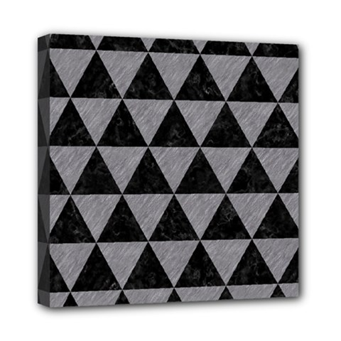 Triangle3 Black Marble & Gray Colored Pencil Mini Canvas 8  X 8  by trendistuff