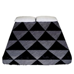 Triangle3 Black Marble & Gray Colored Pencil Fitted Sheet (queen Size)
