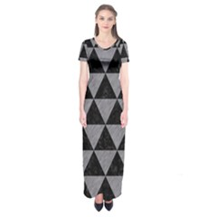 Triangle3 Black Marble & Gray Colored Pencil Short Sleeve Maxi Dress by trendistuff
