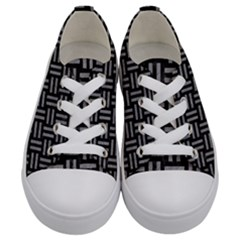 Woven1 Black Marble & Gray Colored Pencil Kids  Low Top Canvas Sneakers