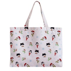 Snowman Pattern Zipper Mini Tote Bag by Valentinaart