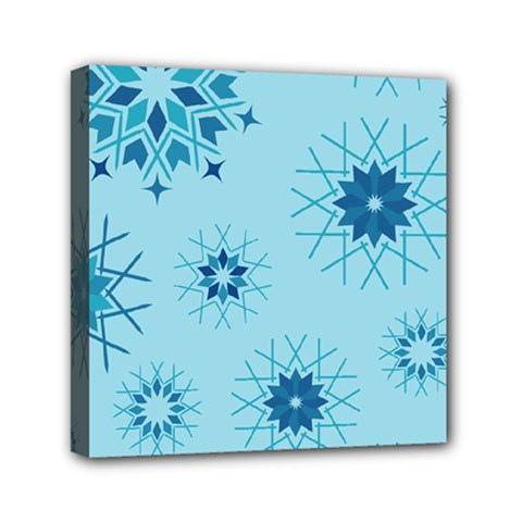 Blue Winter Snowflakes Star Mini Canvas 6  X 6  by Mariart