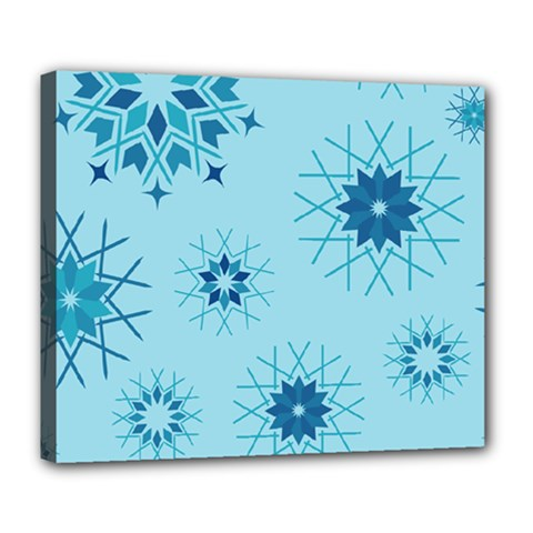 Blue Winter Snowflakes Star Deluxe Canvas 24  X 20   by Mariart