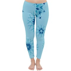 Blue Winter Snowflakes Star Classic Winter Leggings