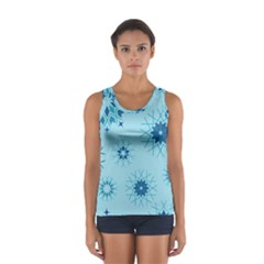 Blue Winter Snowflakes Star Sport Tank Top  by Mariart