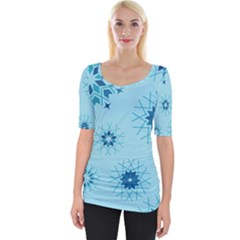 Blue Winter Snowflakes Star Wide Neckline Tee by Mariart