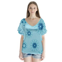 Blue Winter Snowflakes Star V Neck Flutter Sleeve Top
