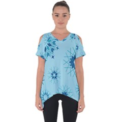 Blue Winter Snowflakes Star Cut Out Side Drop Tee