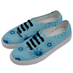 Blue Winter Snowflakes Star Men s Classic Low Top Sneakers by Mariart