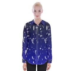 Blue Sky Christmas Snowflake Womens Long Sleeve Shirt by Mariart