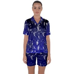 Blue Sky Christmas Snowflake Satin Short Sleeve Pyjamas Set