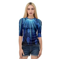 Blue Rays Light Stars Space Quarter Sleeve Raglan Tee by Mariart