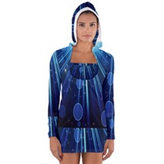 Blue Rays Light Stars Space Long Sleeve Hooded T Shirt