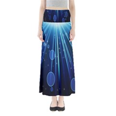 Blue Rays Light Stars Space Full Length Maxi Skirt by Mariart