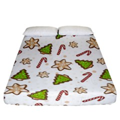 Ginger Cookies Christmas Pattern Fitted Sheet (california King Size) by Valentinaart