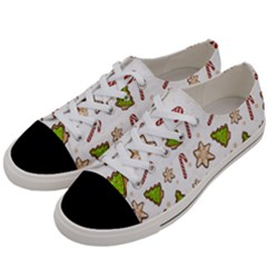 Ginger Cookies Christmas Pattern Women s Low Top Canvas Sneakers by Valentinaart