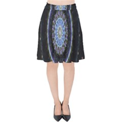 Colorful Hypnotic Circular Rings Space Velvet High Waist Skirt by Mariart