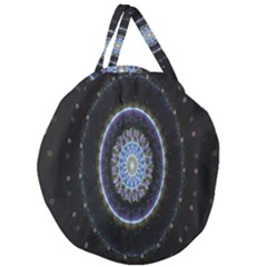 Colorful Hypnotic Circular Rings Space Giant Round Zipper Tote by Mariart