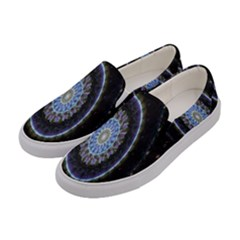 Colorful Hypnotic Circular Rings Space Women s Canvas Slip Ons by Mariart