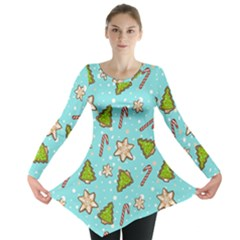 Ginger Cookies Christmas Pattern Long Sleeve Tunic  by Valentinaart