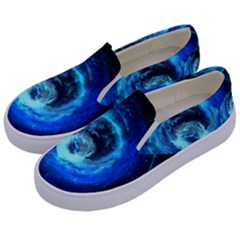 Blue Black Hole Galaxy Kids  Canvas Slip Ons by Mariart