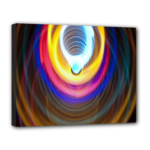 Colorful Glow Hole Space Rainbow Canvas 14  X 11  by Mariart