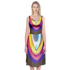 Colorful Glow Hole Space Rainbow Midi Sleeveless Dress by Mariart