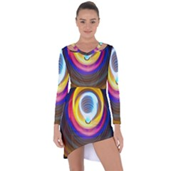 Colorful Glow Hole Space Rainbow Asymmetric Cut-out Shift Dress by Mariart