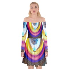 Colorful Glow Hole Space Rainbow Off Shoulder Skater Dress