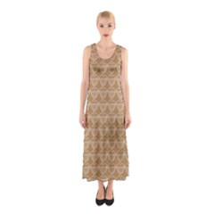 Cake Brown Sweet Sleeveless Maxi Dress by Mariart