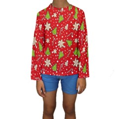 Ginger Cookies Christmas Pattern Kids  Long Sleeve Swimwear