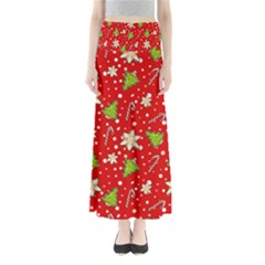 Ginger Cookies Christmas Pattern Full Length Maxi Skirt by Valentinaart
