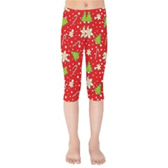 Ginger Cookies Christmas Pattern Kids  Capri Leggings  by Valentinaart