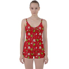 Ginger Cookies Christmas Pattern Tie Front Two Piece Tankini by Valentinaart