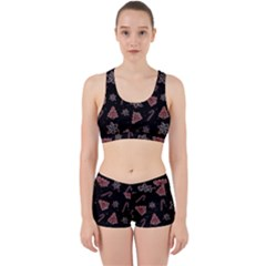 Ginger Cookies Christmas Pattern Work It Out Sports Bra Set