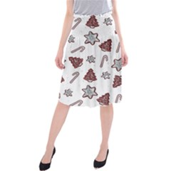 Ginger Cookies Christmas Pattern Midi Beach Skirt by Valentinaart