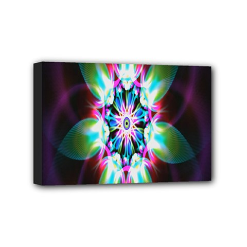 Colorful Fractal Flower Star Green Purple Mini Canvas 6  X 4