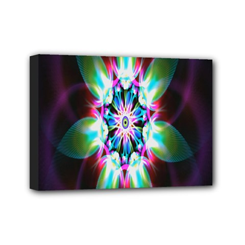 Colorful Fractal Flower Star Green Purple Mini Canvas 7  X 5