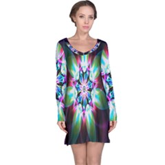 Colorful Fractal Flower Star Green Purple Long Sleeve Nightdress by Mariart