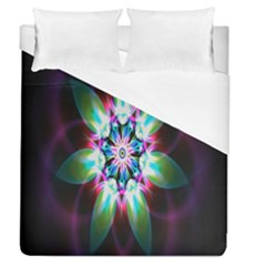 Colorful Fractal Flower Star Green Purple Duvet Cover (queen Size) by Mariart