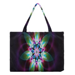 Colorful Fractal Flower Star Green Purple Medium Tote Bag