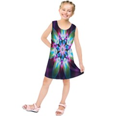 Colorful Fractal Flower Star Green Purple Kids  Tunic Dress by Mariart