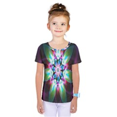 Colorful Fractal Flower Star Green Purple Kids  One Piece Tee