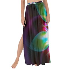 Colorful Fractal Flower Star Green Purple Maxi Chiffon Tie Up Sarong