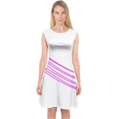 Electricty Power Pole Blue Pink Capsleeve Midi Dress