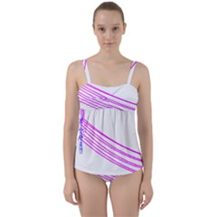 Electricty Power Pole Blue Pink Twist Front Tankini Set